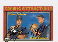 Scott Sanders - Brian Johnson DUAL SIGNED 1994 Topps Padres 