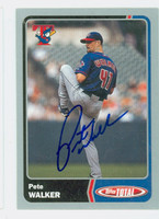 Pete Walker AUTOGRAPH 2003 Topps Total Silver Blue Jays 