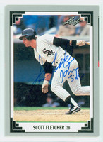 Scott Fletcher AUTOGRAPH 1991 Leaf White Sox 