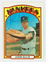 John Ellis AUTOGRAPH 1972 Topps #47 Yankees CARD IS VG