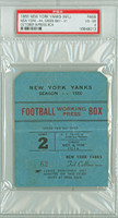 1950 New York Yankees Press Pass vs Green Bay Packers  - Yanks 44-31  October 8, 1950 Very Good to Excellent