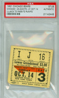 1951 Chicago Bears Ticket Stub vs New York Yankees Johnny Lujack TD Pass, TD Run - Bears 24-21  October 14, 1951 PSA/DNA Authentic Slabbed