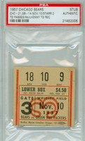 1957 Chicago Bears Ticket Stub vs Green Bay Packers Bart Starr 2 TDs Hugh McIlhenny TD  - Bears 24-21  November 10, 1957 [Y57_Bear1110S_pa_9] PSA/DNA Authentic Slabbed