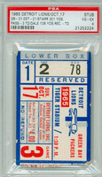 1965 Detroit Lions Ticket Stub vs Green Bay Packers Bart Starr 301 Yds, 3 TD Carroll Dale 108 Yds Rec, TD  - Packers 31-21  October 17, 1965 PSA/DNA Authentic Slabbed
