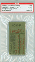 1962 Cleveland Indians Ticket Stub vs New York Yankees Mickey Mantle HR #381 - May 12, 1962 Excellent to Mint