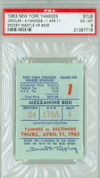 1963 New York Yankees Ticket Stub vs Baltimore Orioles Mickey Mantle HR #406 - April 11, 1963 Excellent to Mint
