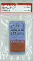 1964 Chicago Cubs Ticket Stub vs Milwaukee Braves Hank Aaron HR #359 - August 1, 1964 PSA/DNA Authentic Slabbed