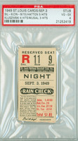 1949 St. Louis Cardinals Ticket Stub vs Cincinnati Reds Ted Kluszewski 4 Hits Stan Musial 3 Hits  - September 3, 1949 Very Good to Excellent