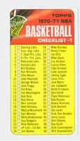 1970 Topps Basketball 24 Checklist One Excellent to Mint