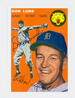 Don Lund AUTOGRAPH d.13 Topps 1954 Archives Tigers 