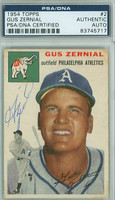 Gus Zernial AUTOGRAPH d.11 1954 Topps #2 Athletics PSA/DNA CARD IS G/VG; CRN WEAR, AUTO CLEAN