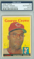George Crowe AUTOGRAPH d.11 1958 Topps #12 Reds PSA/DNA CARD IS G/VG; CRN WEAR, AUTO CLEAN