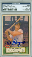 Ted Kluszewski AUTOGRAPH d.88 1952 Topps #29 Reds BLACK BACK PSA/DNA CARD IS CLEAN VG