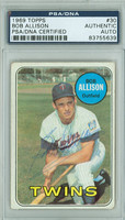 Bob Allison AUTOGRAPH d.95 1969 Topps #30 Twins PSA/DNA CARD IS G/VG; CRN WEAR, AUTO CLEAN