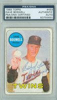 Dave Boswell AUTOGRAPH d.12 1969 Topps #459 Twins PSA/DNA CARD IS F/G; CREASES, AUTO CLEAN