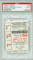1961 San Francisco Giants Ticket Stub vs St. Louis Cardinals Stan Musial Career HR #441 Orlando Cepeda Career HR #116  - August 16, 1961 Near Mint to Mint