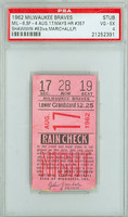 1962 Milwaukee Braves Ticket Stub vs San Francisco Giants Willie Mays HR #357 Bob Shaw Win #63  - August 17, 1962 Very Good to Excellent