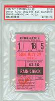 1962 New York Yankees Ticket Stub vs Chicago White Sox Charley Maxwell 3 HR in DH - #140-142 - July 29, 1962 PSA/DNA Authentic Slabbed