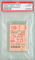 1963 Los Angeles Angels Ticket Stub vs New York Yankees Whitey Ford Win #192 - August 10, 1963 PSA/DNA Authentic Slabbed
