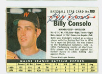 Billy Consolo AUTOGRAPH d.08 1961 Post #100 Twins BOX CARD IS G/VG; AUTO CLEAN