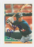 Luis Lopez AUTOGRAPH 1994 Topps Padres 