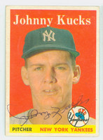 Johnny Kucks AUTOGRAPH d.13 1958 Topps Yankees CARD IS CLEAN EX