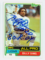Billy Sims AUTOGRAPH 1980 Topps Football Lions 