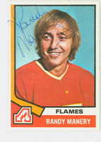 Randy Manery AUTOGRAPH 1974-75 Topps Hockey Flames 