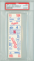 1960 Los Angeles Dodgers FULL TICKET vs Milwaukee Braves Del Crandall HR #143 - May 4, 1960 PSA/DNA Authentic Slabbed