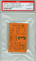 1967 New York Giants Ticket Stub vs Cleveland Browns Paul Warfield 2 TD Passes - Giants 38-34  October 29, 1967 [Y67_Gian1029S_pa_1] PSA/DNA Authentic