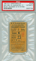 1941 New York Giants Ticket Stub vs Washington Redskins Sammy Baugh 25 Yd TD pass - Giants 20-13  November 23, 1941 PSA/DNA Authentic
