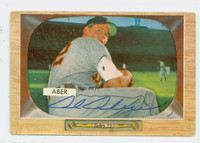 Al Aber AUTOGRAPH d.93 1955 Bowman #24 Tigers CARD IS VG; SL CREASE, AUTO CLEAN