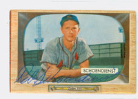 Red Schoendienst AUTOGRAPH 1955 Bowman #29 Cardinals CARD IS CLEAN VG/EX