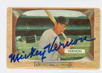 Mickey Vernon AUTOGRAPH d.08 1955 Bowman #46 Senators CARD IS G/VG; AUTO CLEAN