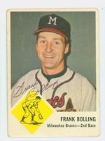 Frank Bolling AUTOGRAPH 1963 Fleer #44 Braves CARD IS CLEAN VG; RND CRNS