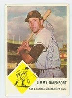 Jimmy Davenport AUTOGRAPH d.16 1963 Fleer #65 Giants CARD IS CLEAN VG/EX; WRT ON REV