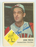 Gene Freese AUTOGRAPH d.13 1963 Fleer #33 Reds CARD IS G/VG; RND CRNS