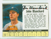 John Blanchard AUTOGRAPH d.09 1961 Post #18 Yankees BOX CARD IS CLEAN EX
