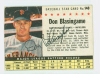 Don Blasingame AUTOGRAPH d.05 1961 Post #148 Giants BOX CARD IS F/G; CREASE, WRT ON REV