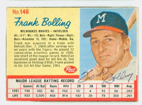 Frank Bolling AUTOGRAPH 1962 Post #146 Braves CARD IS VG/EX; AUTO CLEAN