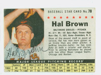 Hal Brown AUTOGRAPH d.15 1961 Post #78 Orioles BOX CARD IS VG; CRN DINGS, AUTO CLEAN