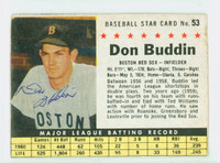 Don Buddin AUTOGRAPH d.11 1961 Post #53 Red Sox BOX CARD IS G/VG; CHIPPING, AUTO CLEAN