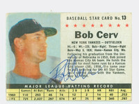 Bob Cerv AUTOGRAPH 1961 Post #13 Yankees BOX CARD IS VG; AUTO CLEAN