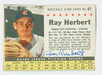 Ray Herbert AUTOGRAPH 1961 Post #87 Athletics BOX CARD IS VG/EX; AUTO CLEAN