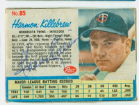Harmon Killebrew AUTOGRAPH d.11 1962 Post #85 Twins CARD IS F/P; HEAVY CREASING