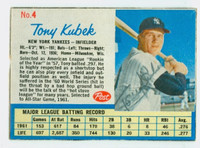 Tony Kubek AUTOGRAPH 1962 Post #4 Yankees CARD IS G/VG; CREASE, AUTO CLEAN