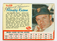 Harvey Kuenn AUTOGRAPH d.88 1962 Post #135 Giants CARD IS VG; AUTO CLEAN
