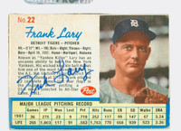 Frank Lary AUTOGRAPH 1962 Post #22 Tigers CARD IS VG; AUTO CLEAN