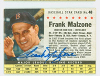 Frank Malzone AUTOGRAPH d.15 1961 Post #48 Red Sox BOX CARD IS F/G; SURF WEAR, STAIN ON REV