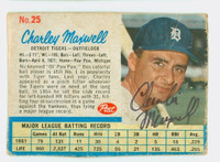 Charley Maxwell AUTOGRAPH 1962 Post #25 Tigers CARD IS F/P; HEAVY CREASING, AUTO CLEAN  [SKU:MaxwC721_PO62BBcpl]